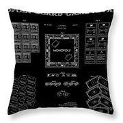 Monopoly Board Game Black Patent Art  1935 Throw Pillow