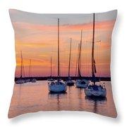 Monroe Harbor Sunrise Throw Pillow