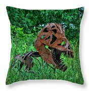 Monster In The Grass Throw Pillow