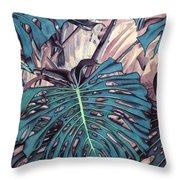 Monstera Blues Throw Pillow
