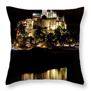 Mont Saint Michel At Night 1 Throw Pillow