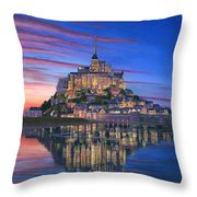 Mont Saint-michel Soir Throw Pillow by Richard Harpum