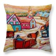 Mont St.hilaire Going Towards The Village Quebec Winter Landscape Paintings Carole Spandau Throw Pillow