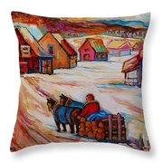 Mont St.hilaire Winter Scene Logger Heading Home To Quebec Village Winter Landscape Carole Spandau Throw Pillow