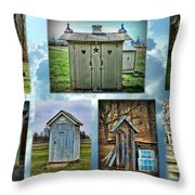 Montage Of Outhouses Throw Pillow