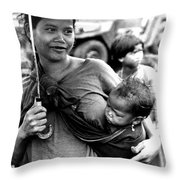 Montagnard Woman With Umbrella And Child Throw Pillow