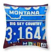 Montana License Plate Map Throw Pillow