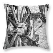 Montana Old Wagon Wheels Monochrome Throw Pillow by Jennie Marie Schell