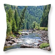 Montana River And Trees Throw Pillow