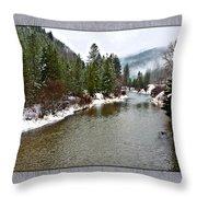 Montana Winter Frame Throw Pillow