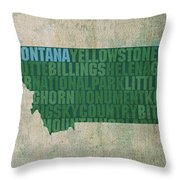 Montana Word Art State Map On Canvas Throw Pillow