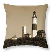 Montauk Point Light In Sepia Throw Pillow