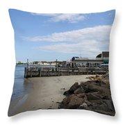 Montauk Port Long Island Throw Pillow