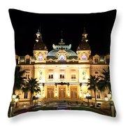 Monte Carlo Casino At Night Throw Pillow