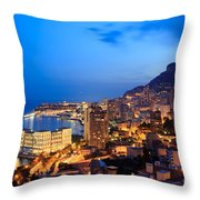 Monte Carlo Cityscape At Night Throw Pillow