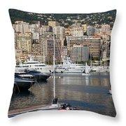 Monte Carlo Sailing - Monaco French Riviera Throw Pillow
