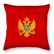 Montenegro Flag Vintage Distressed Finish Throw Pillow