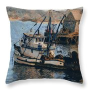 Monterey Fish Company Abstract Throw Pillow