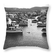 Monterey Harbor Full Of Purse-seiner Fishing Boats California 1945 Throw Pillow