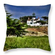 Monterey Lighthouse Throw Pillow