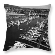 Monterey Marina With Fishing Boats In Slips Sept. 4 1961  Throw Pillow