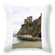 Monterosso Harbor Pier Throw Pillow
