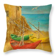 Monterosso On Riviera Di Levante Throw Pillow