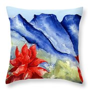 Monterrey Mountains With Red Floral Throw Pillow