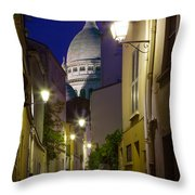 Montmartre Street And Sacre Coeur Throw Pillow