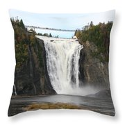 Montmorency Waterfall - Canada Throw Pillow