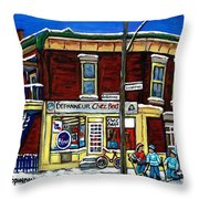 Montreal Art Hockey Paintings Chez Bert Depanneur The Pointe Verdun City Scene Carole Spandau  Throw Pillow