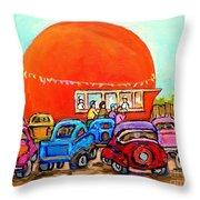 Montreal Art Orange Julep Paintings Montreal Summer City Scenes Carole Spandau Throw Pillow