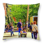 Montreal Art Summer Cafe Scene Rue Laurier Family Day Wagon Ride City Scene Art By Carole Spandau Throw Pillow