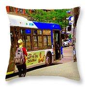 Montreal Bus Scenes Catching The 97 Bus Pontiac Corner Mont Royal Urban Montreal Art Carole Spandau Throw Pillow