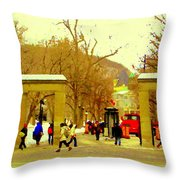 Montreal Memories Mcgill Students On Campus Roddick Gates Montreal Collectible Art Prints C Spandau Throw Pillow