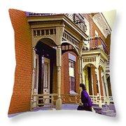 Montreal Memories Pretty Plateau Porches Lady Climbs Front Steps By Bricks Balconies Home Cspandau   Throw Pillow