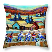 Montreal Memories Rink Hockey In The Country Hockey Our National Pastime Carole Spandau Paintings Throw Pillow