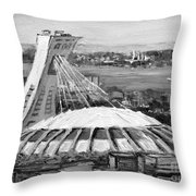 Montreal Olympic Stadium And Olympic Park-home To Biodome And Velodrome-montreal In Black And White Throw Pillow