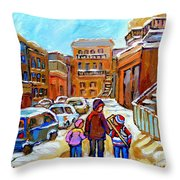 Montreal Paintings Winter Walk Past The Old School Snowy Day City Scene Carole Spandau Throw Pillow
