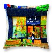 Montreal Rainy Day  Window Shopping Girl With Paisley Umbrella Spa Molinard Laurier  Carole Spandau Throw Pillow