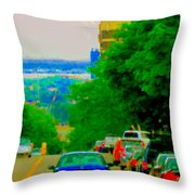 Montreal Skyline Decarie View Of Clock Tower Victoria Pier And Super Hospital Site Carole Spandau Throw Pillow