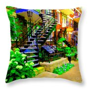 Montreal Staircases Verdun Stairs Duplex Flower Gardens Summer City Scenes Carole Spandau Throw Pillow