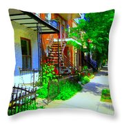 Montreal Stairs Shady Streets Winding Staircases In Balconville Art Of Verdun Scenes Carole Spandau Throw Pillow