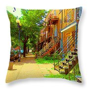 Montreal Stairs Winding Staircases And Sunny Tree Lined Sidewalks Verdun Scenes Carole Spandau  Throw Pillow