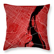 Montreal Street Map - Montreal Canada Road Map Art On Color Throw Pillow