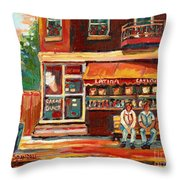 Montreal Street Scene Paintings Throw Pillow