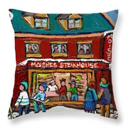 Montreal Winter Hockey At Moishes Throw Pillow