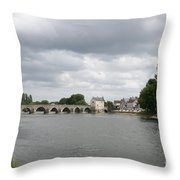Montrichard Bridge Over Cher River Throw Pillow