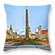 Monument In B.bystrica Throw Pillow