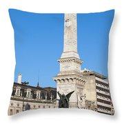 Monument On Restauradores Square In Lisbon Throw Pillow